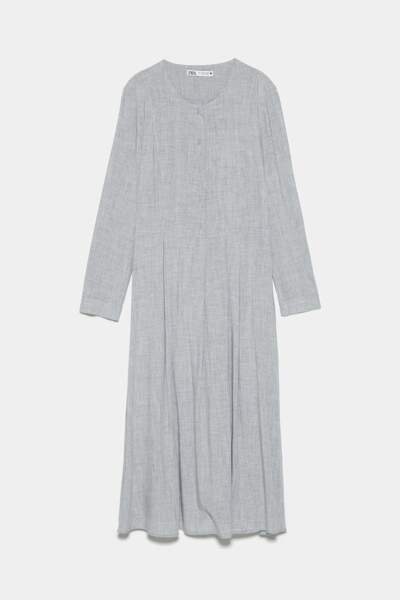Robe à boutons gris chiné, Zara, 29,97€
