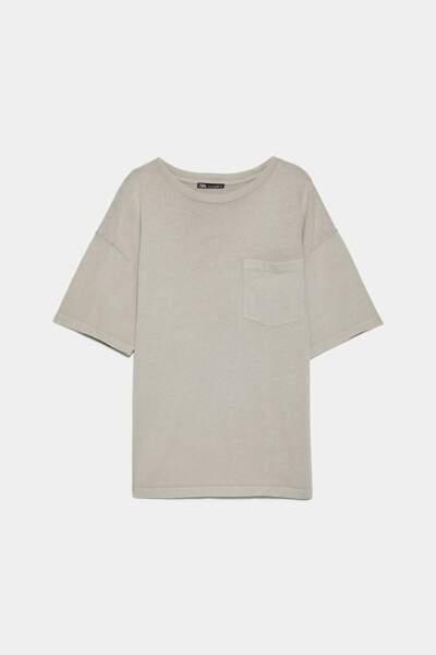 T-shirt effet délavé à poche, Zara, 7,77€