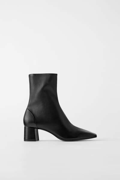 Bottines à talons en cuir soft, Zara, 35,97€