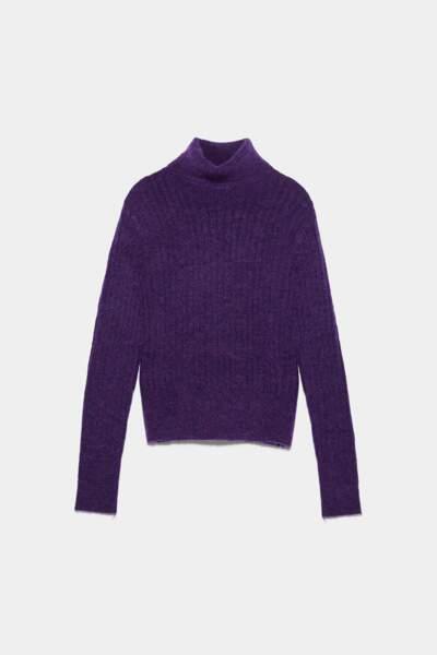 Pull en alpaga et laine violet, Zara, 29,97€