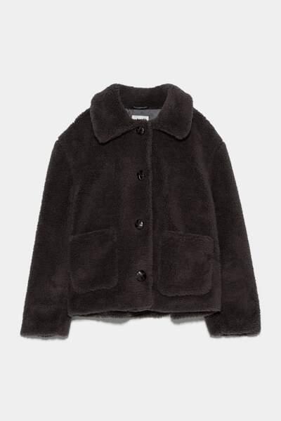 Manteau court effet mouton, Zara, 35,97€