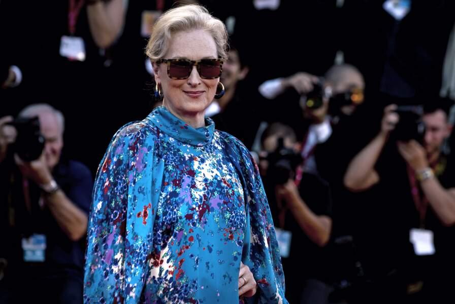 Meryl Streep et ses cheveux blancs sur une coupe courte