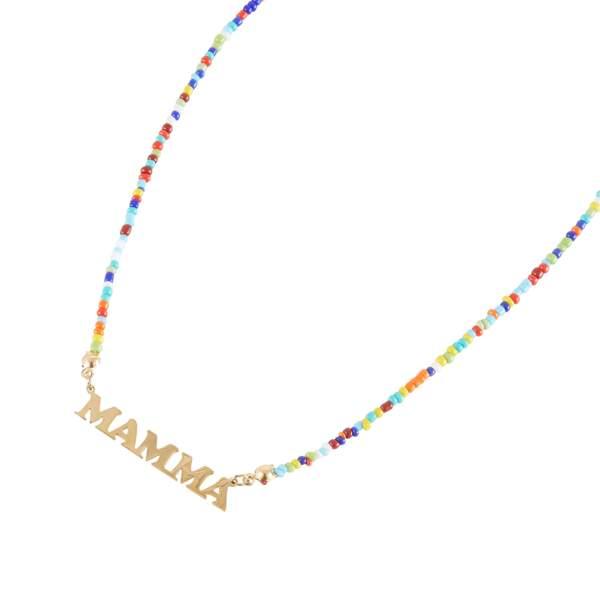 Collier Mamma doré avec perles multicolores, Balaboosté x My Travel Dreams, 19€