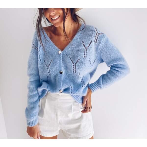 Gilet Luana Bleu Ciel, Easy Clothes, 34€