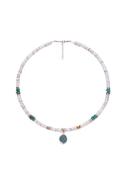 Collier CHILL en coquillages et pierres chrysocolle, Hank In, 190€