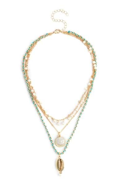 Collier multi-rangs de perles dorées et vertes, Primark, 4€
