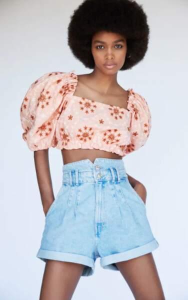 Short en jean taille haute, Zara, 19,95€