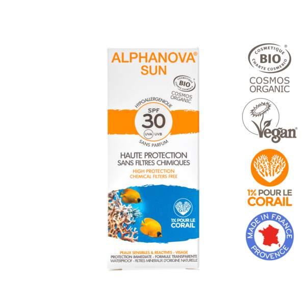 Crème solaire visage SPF 30, Alphanova, 12,90€