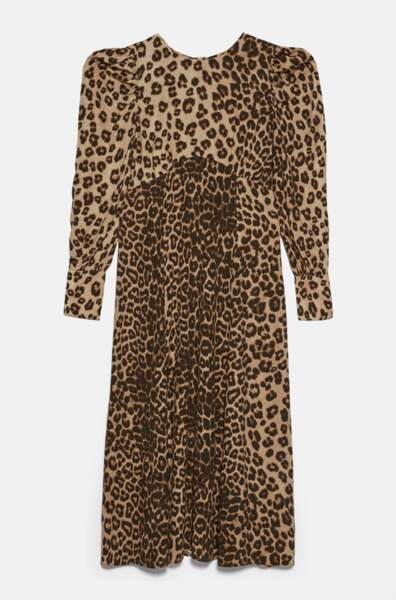 Robe longue à imprimé animalier, Zara, 19,99€ au lieu de 29,97€