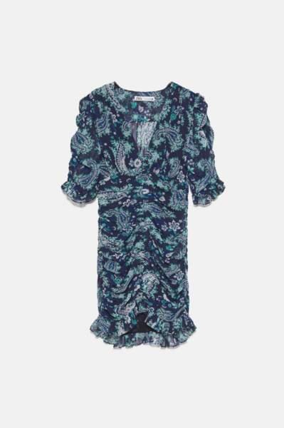 Robe courte drapée, Zara, 29,99€ au lieu de 49,95€