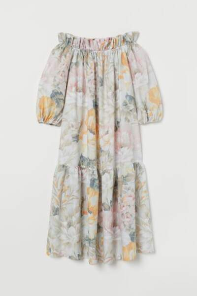 Robe longue épaules dénudées, H&M, 17,99€
