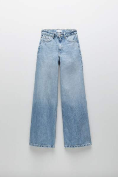 Jean taille normale à jambes super larges, Zara, 39,95€