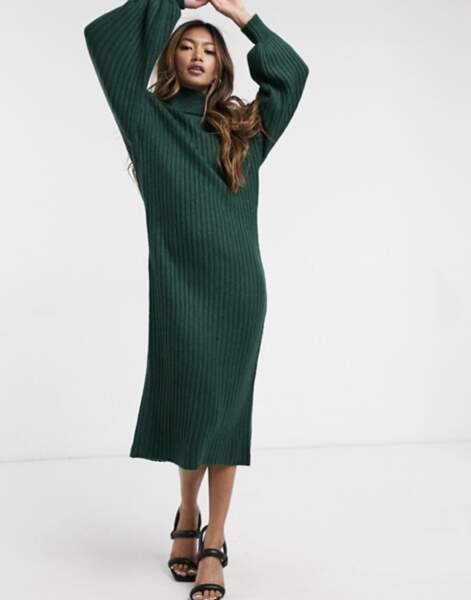 Robe mi-longue côtelée à col bénitier, ASOS Design, 43,99€