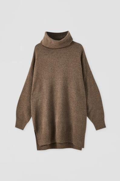 Robe maille oversize col roulé, Pull&Bear, 29,99€