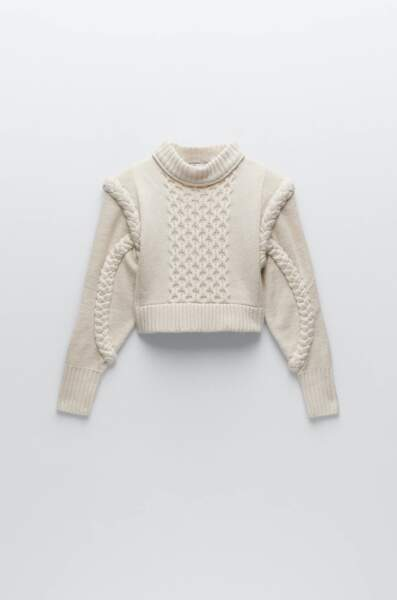 Haut en maille avec épaulettes, Zara, 39,95€