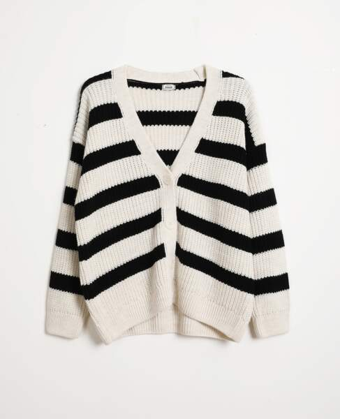 Gilet grosse maille à rayures, Pimkie, 25,99€