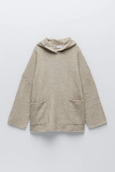 Sweat oversize en maille, Zara, 39,95€