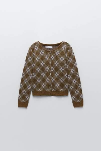 Gilet en laine à losanges édition spéciale, Zara, 49,95€