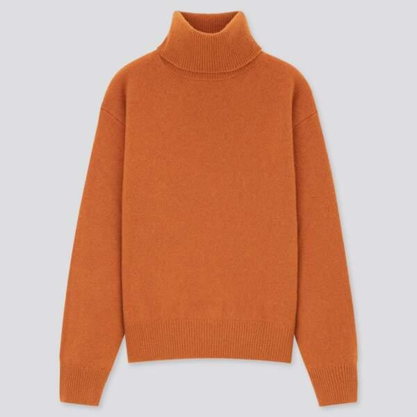 Pull premium en laine et à col roulé, Uniqlo, 29,90€