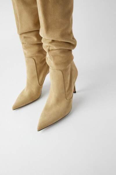 Bottes hautes à talon en croute de cuir, Zara, 99,95 €