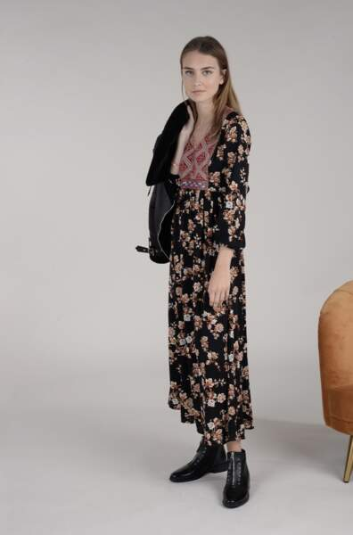Robe longue empiècement jacquard, Molly Bracken, 59,95€