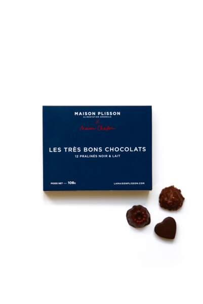 Les très bons chocolats, coffret de 12 pralinés, Maison Plisson x Chocolaterie Chapon, 19,50€