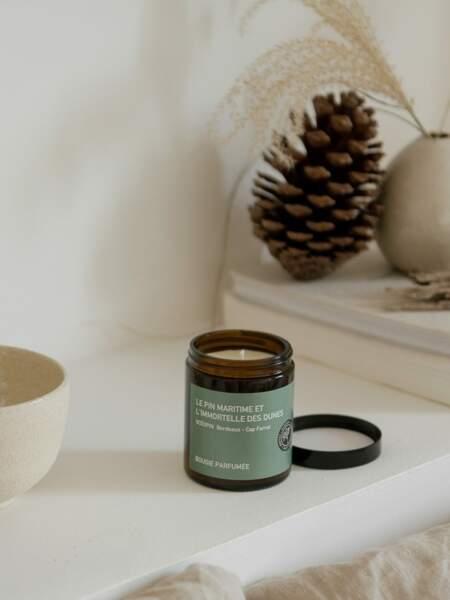 Bougie parfumée fabriquée à la main en cire naturelle, Océopin, 38€les 180 grammes