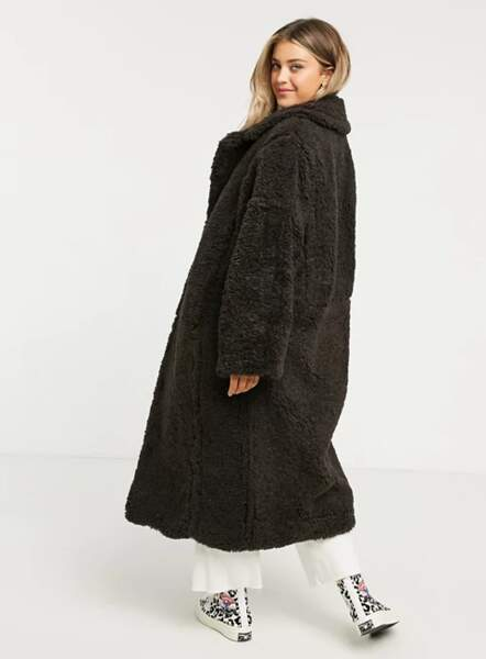 Manteau long en fausse fourrure marron, Asos design, actuellement à 74,85 €