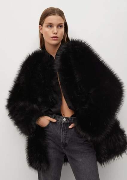 Manteau oversize en fausse fourrure, Mango, actuellement à 83,99 € sur La Redoute