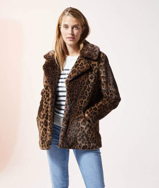 Manteau Léo en fausse fourrure imprimé léopard, Etam, actuellement à 59,99 €