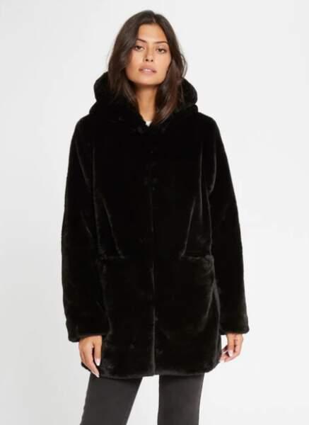 Manteau droit imitation fourrure, Morgan, 91 €