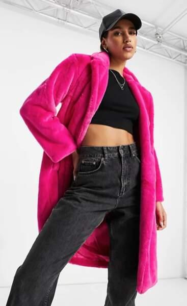 Manteau en fausse fourrure fushia, Unique21, actuellement à 99,99 €