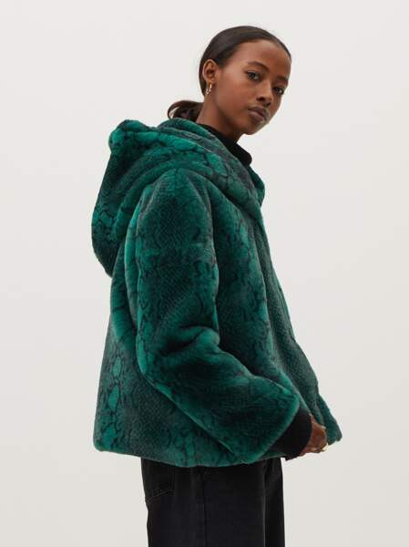 Manteau à capuche en fausse fourrure imprimé serpent, Parfois, actuellement à 47,99 €