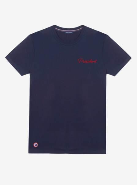 Tee-shirt brodé Président, Le Slip Français (fabriqué en France), 55 €