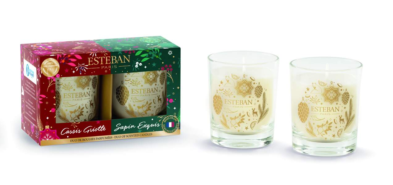 Coffret duo de mini bougies parfumées et éco-responsables, Esteban, 19,90 €