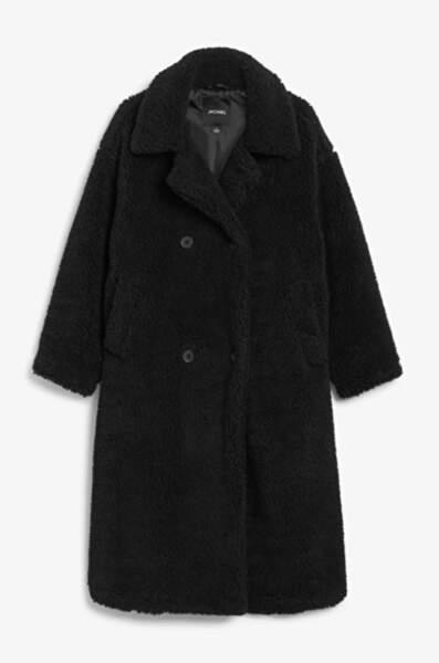 Manteau long façon teddy coat, Monki, 90€