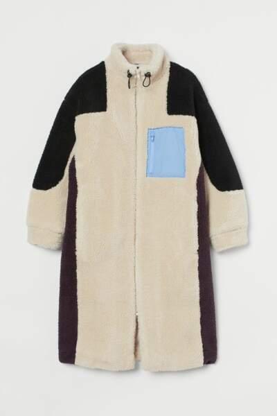 Manteau long color block, H&M, 69,99€