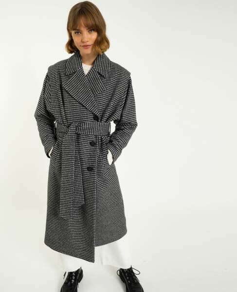 Manteau long motif pied-de-poule, Pimkie, 69,99€