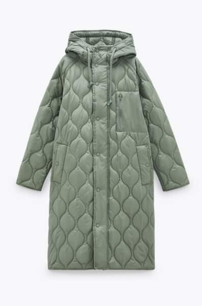 Manteau long matelassé oversize, Zara, 79,95€