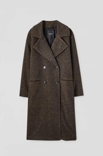 Manteau long en mélange de laine à chevrons, Pull and Bear, actuellement à 47,99€