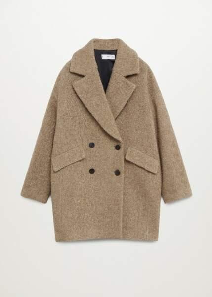Manteau long croisé texturé en laine mélangée, Mango, 99,99€