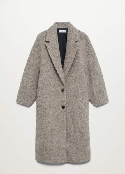 Manteau long texturé en laine, Mango sur La Redoute, 99,99€