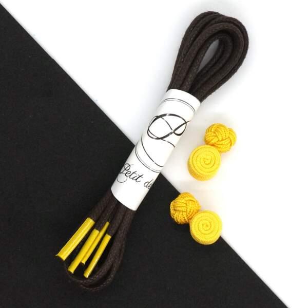 Lacets marron/jaune, Made in France, en coton ciré, Petit détail, 8 €
