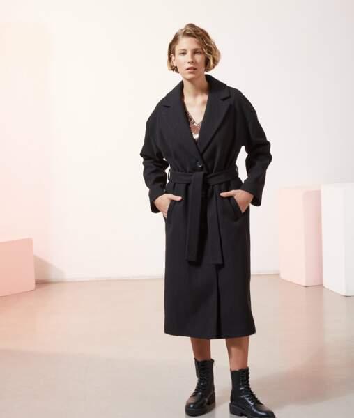 Manteau long et droit avec ceinture MAELIS, ETAM, 89,99€