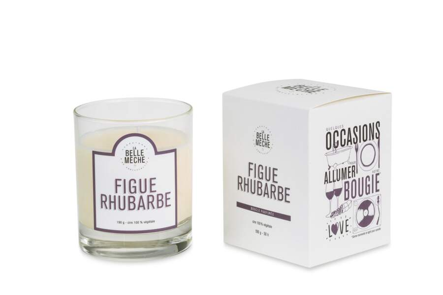 Bougie Figue Rhubarbe, Belle Mèche, 30€ chez Monoprix