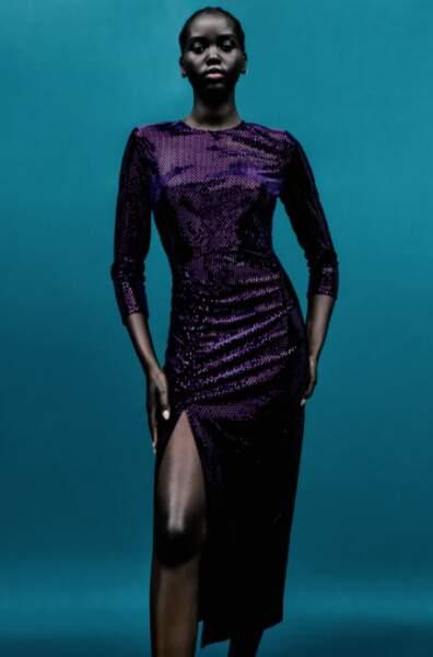 Robe à paillettes mi-longue, Zara, 49,95€