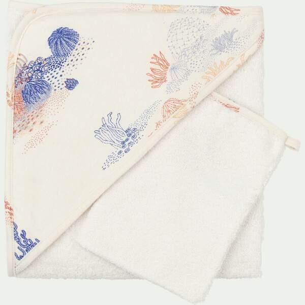 Ensemble cape de bain et gant RECIF, Alinea, 22€