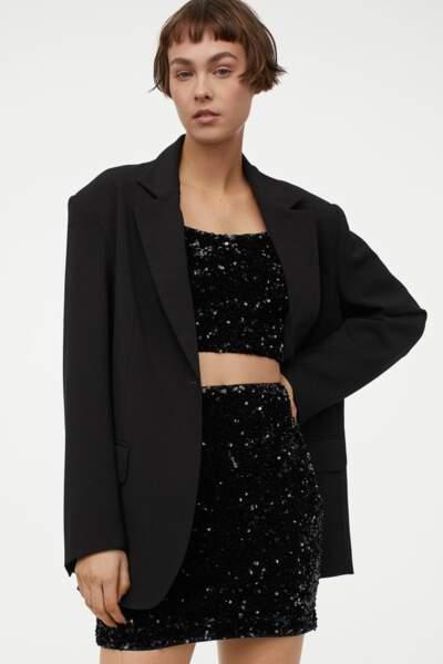 Ensemble top et jupe à paillettes, H&M, 44,98€