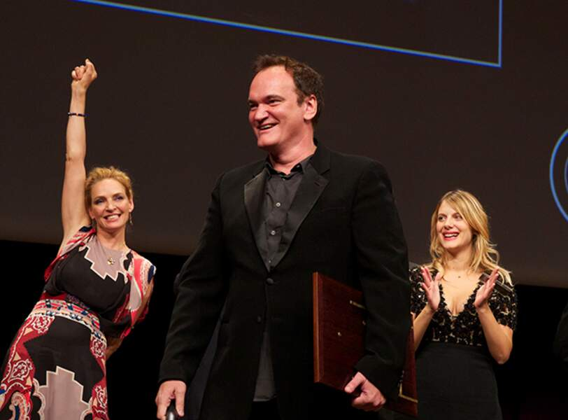 Uma Thurman, Quentin Tarantino et Mélanie Laurent