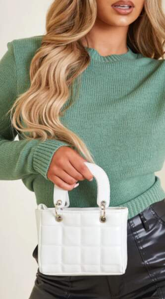 Mini sac à main blanc matelassé,  Pettylittlething, 28€